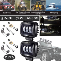 12×11.5×6cm Black DC 10~48V 72W 6000 6500K 10800LM LED Light Bars Work Light Driving Fog Lamp for Trucks, forklifts, etc .
