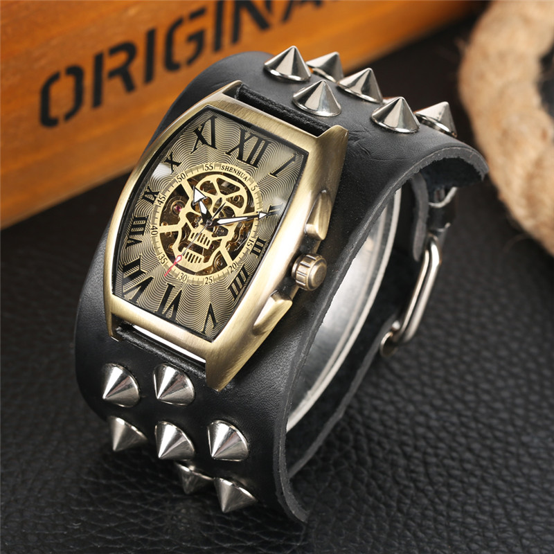 Automatic Mechanical Watches Self-Wind for Men Relogio Elliptical Skull Dial Arbitrary Taper Nail Mechanical Wristwatches Punk