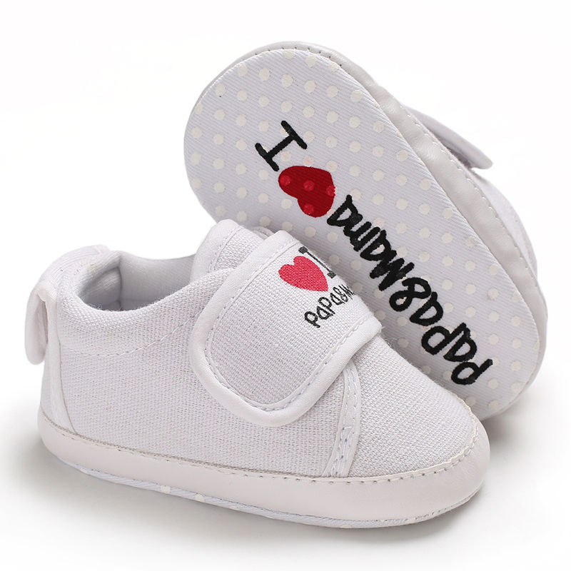 Classic Casual Comfortable Canvas Baby Shoes I Love Papa&Mama Newborn Sports Sneakers First Walkers Kids Booties Children