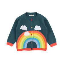 2018 new children sweater spring baby girls rainbow clouds kids clothing knitting cardigan long sleeve tops jackets(China)