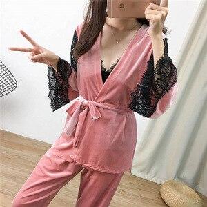 Image 4 - Lisacmvpnel 3 pièces or velours garder au chaud pyjamas dentelle Sexy Robe + chemise de nuit + longue pantalon ensemble Pyjama pour les femmes