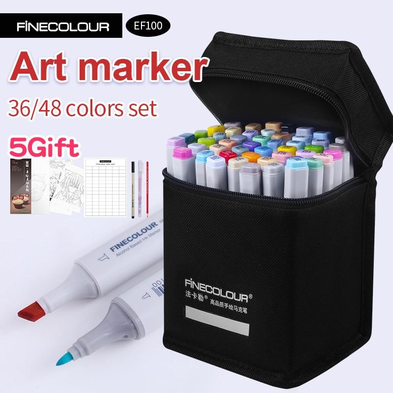 Finecolour alcool Art marqueur couleur stylo artiste Double tête croquis marqueur 36 48 Set EF100 marqueurs pour dessin