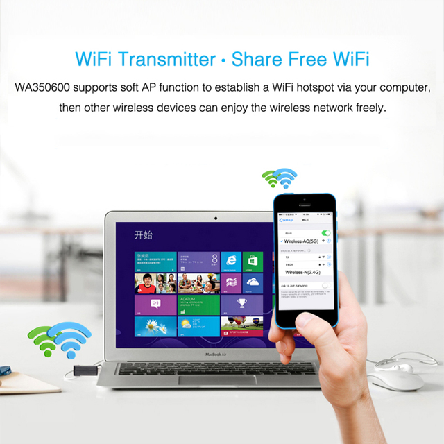 Mini Usb Wifi Adapter Tiny Smallest 5Ghz Network Adapters Portable For Desktop