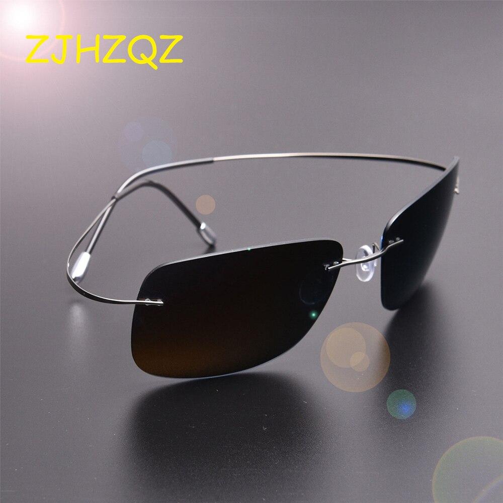 ZJHZQZ New Screwless Frameless Ultra Light Hingeless Rimless 100% Titanium High Quality Polarized Sunglasses Purple Black Shades