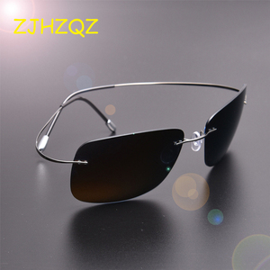 Image 1 - ZJHZQZ New Screwless Frameless Ultra Light Hingeless Rimless 100% Titanium High Quality Polarized Sunglasses Purple Black Shades