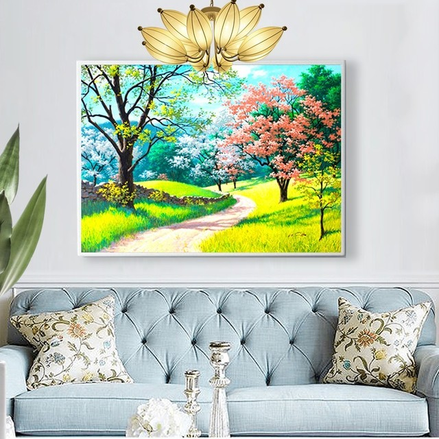 HUACAN 5d Diamond Painting Landscape Diamond Embroidery Full Display Spring Full Square DIY Cross Stitch Mosaic