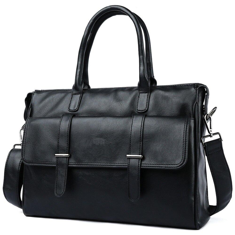 2019 Black Men's Briefcase Genuine Leather Bag Men Business Laptop Briefcase Bag Vintage Office File Folder Briefcases Tote Bags