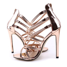 11CM Stiletto Thin High Heels Sandals Women Open Toe Cross Strap Heels Wedding Party Ladies Fashion PU Summer Zipper Sandals New cross strap back zipper sandals