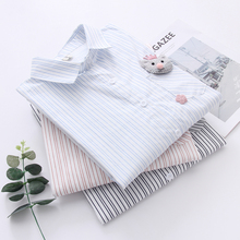 Stripe Patch Shirt Woman Japanese  System Cartoon Mouse pocket Spring And Autumn New Pattern Sweet Joker Student blouse