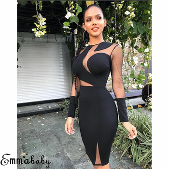 Women Long Sleeve Bandage Bodycon Casual S 2