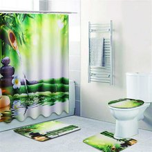 NEW 1PCS Bamboo Waterproof Bathroom Shower Curtain And 3PCS Toilet Cover Mat Non-Slip Rug Set(China)