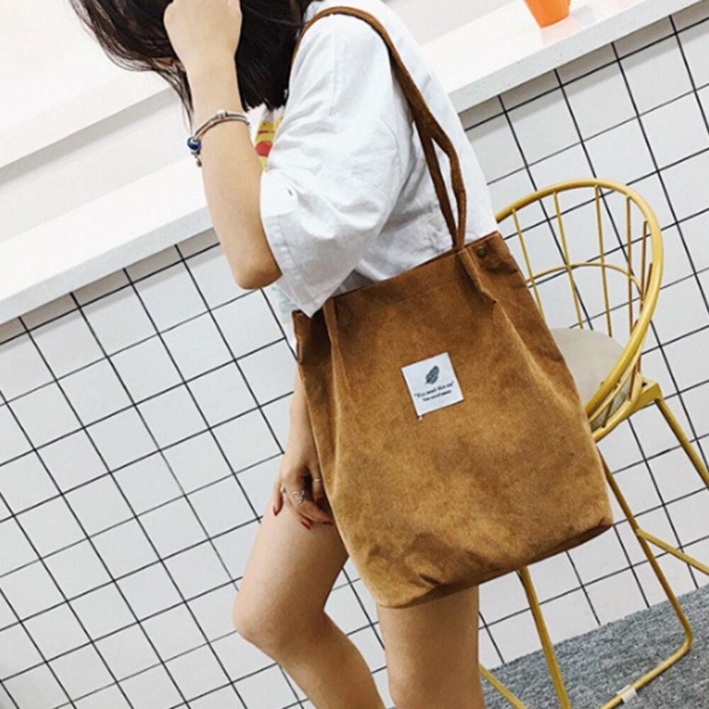 61f3e65e3a1d Однотонные вельветовые сумки на плечо Экологичная Сумка Для Покупок Сумка  сумки через плечо сумочки повседневная женская сумка