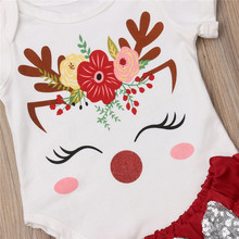 Baby Girl Cartoon Party Xmas Outfits Set