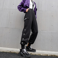 Black Streetwear Cargo Pants Women Cotton Elasitc High Waist Sweatpants And Fashion Side Button Joggers Female Harem Pants