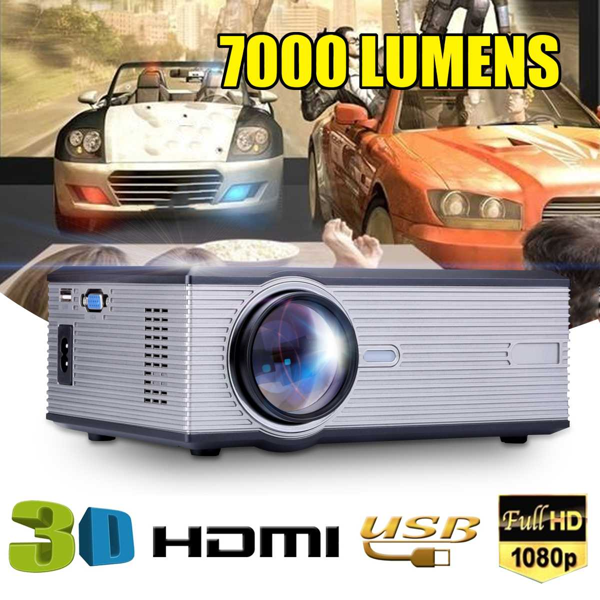 Mini 7000 Lumens 1080P LED Video Projector for Home Theatersupport Full HD Mini projector HDMI/USB/SD/AV/VGA HOME CINEMAMini 7000 Lumens 1080P LED Video Projector for Home Theatersupport Full HD Mini projector HDMI/USB/SD/AV/VGA HOME CINEMA