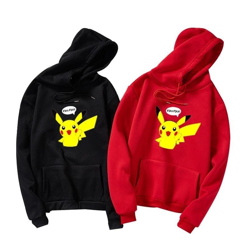Pokemon Hoodies Unisex Men Women Cartoon Printed Pikachu Hoodie Kawaii Plus Velvet Sweatshirt Pullover Moletom Streetwear S-3XL