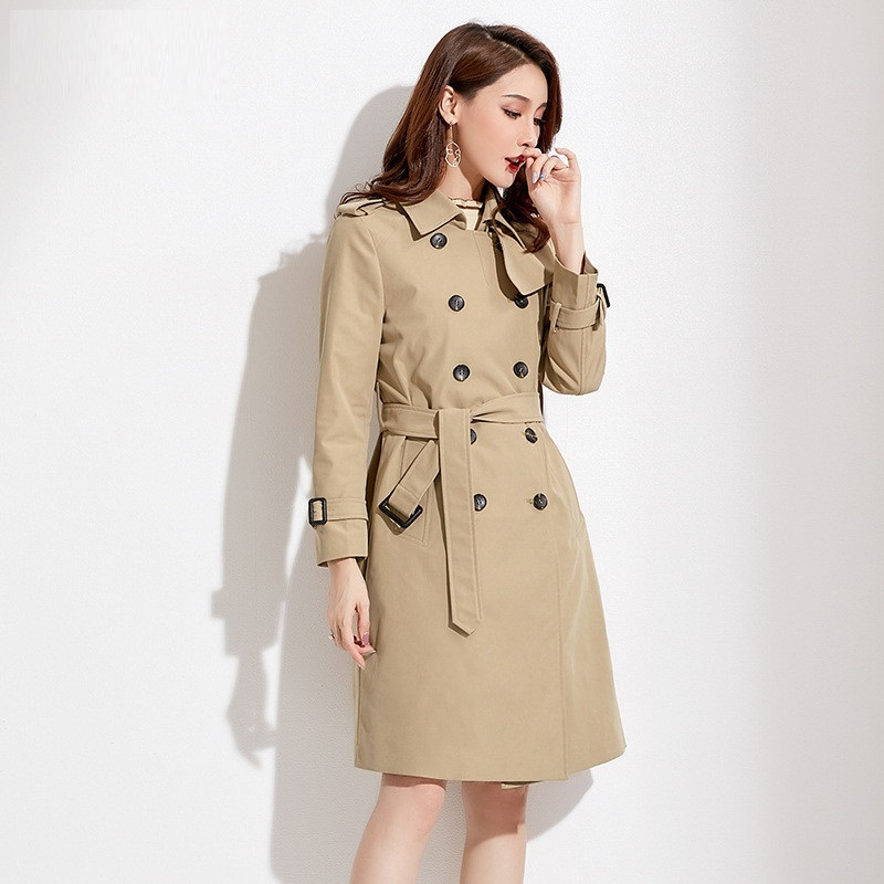 Brand Women Classic Double Breasted   Trench   Windbreaker With Belt Office Lady Elegant Slim Coats New Casual Spring Autumn Outwear
