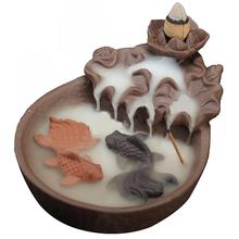 Smoke Waterfall Backflow Incense Burner Ceramic Lotus Flower Stick Holder Mountain River Handicraft