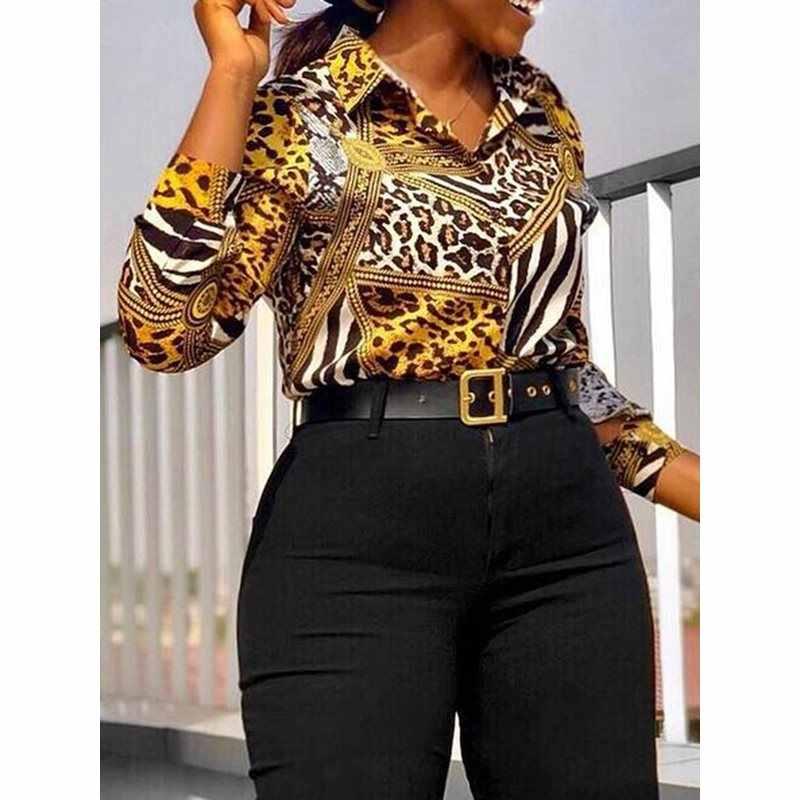 Vintage Zomer Geel Print Leopard Vrouwen Blouses Plus Size Kantoor Dames Sexy Casual Retro Lange Mouwen Tops Fashion Shirts