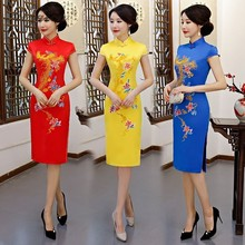 China Modern Cheongsam Red Satin Dress Qipao Short Traditional Chinese Qi Pao Oriental Style Dresses Summer Women Robe Orientale все цены