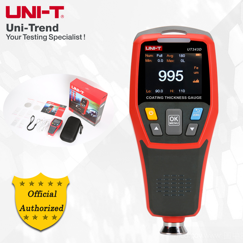 Calibre de espessura do revestimento de UNI-T ut343d; matriz de ferro (fe), medidor de espessura composto do revestimento da medida da matriz não ferrosa (nfe)