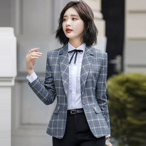 Image 4 - PEONFLY Classic Plaid Single Button Women Jacket Blazer Casual Notched Collar Slim Female Suits Coat Fashion Blazer Femme