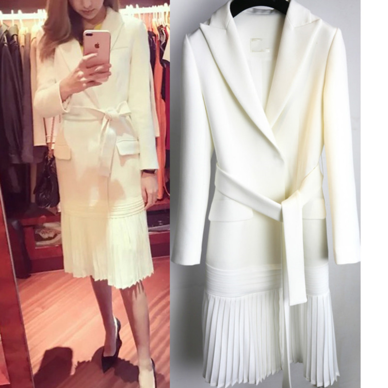 DEAT 2019 new fashion women clothes turn-down collar full sleeve sashes open stitch pleated bottom