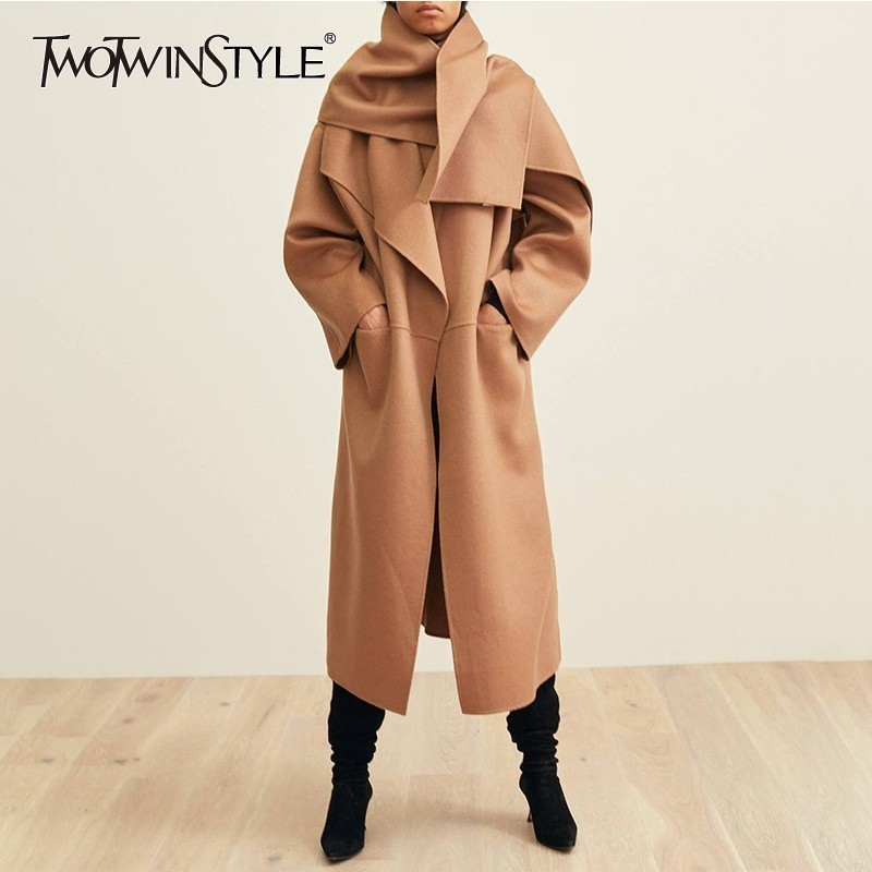 TWOTWINSTYLE Cashmere Coats Female Lapel Long Sleeve Side Split Elegant Fashion Overcoat For Women 2018 Autumn Winter Oversized