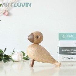 Nordycki dekoracyjny drewniany Songbird lalki ładny natura buk Lark ptak ozdoby modne dekoracje do domu drewno rzemiosło i prezenty w Figurki i miniatury od Dom i ogród na