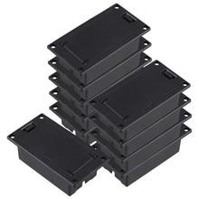 Funda para compartimento de soporte de batería de 9V, bajo de guitarra, conjunto de color negro de 10