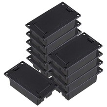 Guitar Bass 9V Battery Holder Compartment Cover Case Black Set of 10