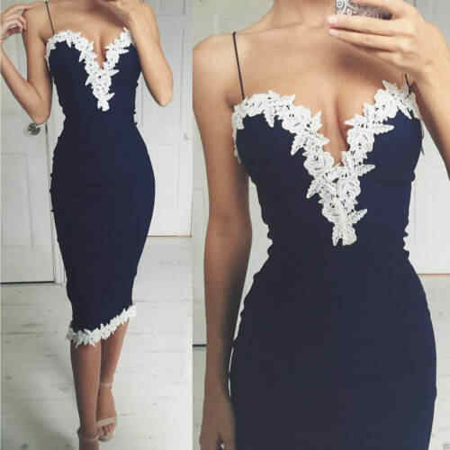 Sexy Women Dark Blue Backless Spaghetti Strap Slim Bodycon Strappy Backless V Neck Lace Flower Evening Party Ladies Midi Dress
