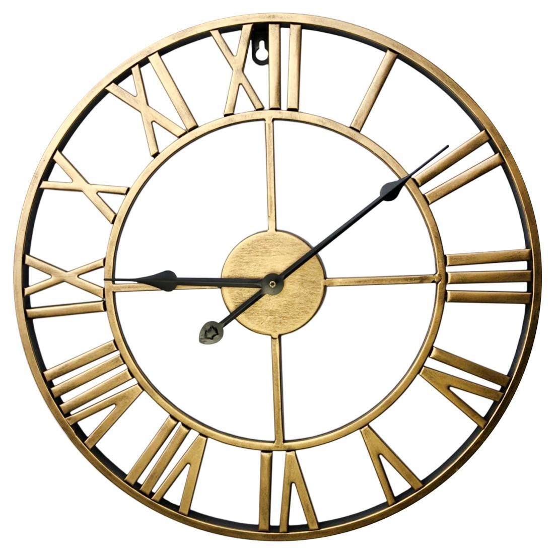 60cm Creative Wall Clock Retro Iron Roman Numerals Mute Wall Clock Battery Operated Round Wall Clock