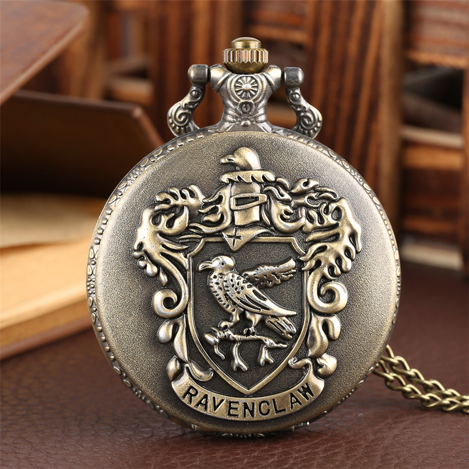 Top Sale Ravenclaw Quartz Pocket Watch Bronze Full Hunter Roman Numerals Display Necklace Clock Best Gifts For Movie Fans Reloj