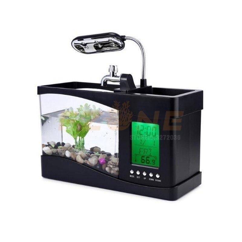 Mini Aquarium Aquarium Aquarium USB avec écran d'affichage à cristaux liquides de lampe à LED et horloge Aquarium Aquarium réservoirs de poissons 2 modèles