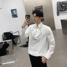 2019Spring New Fashion Pullover Chest Personality Split Joint Man Long Sleeve Shirt streetwear Best Thin Japan Style Color Black