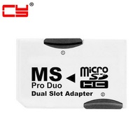 10pcs/lot Cablecc MS Memory Stick Pro Duo to Dual Slot MicroSD TF Adapter Converter for PSP & Mobile Phone