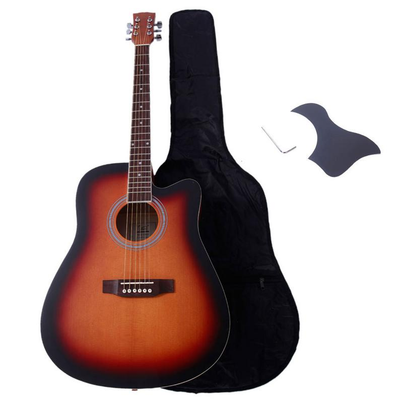 41 Inch Cutaway Spruce Acoustic Guitar Set Sunset Color Unfilled Corner Folk Guitarra with Bag Pickguard Wrench for Beginners41 Inch Cutaway Spruce Acoustic Guitar Set Sunset Color Unfilled Corner Folk Guitarra with Bag Pickguard Wrench for Beginners