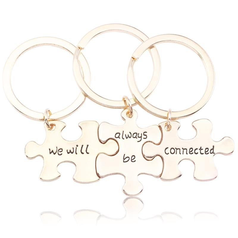 Trendy Best Friends Keychain Carved We Will Always Be Connected Key Chain 3 Piece Puzzle Geometry Keychains Bff Jewelry Llaveros