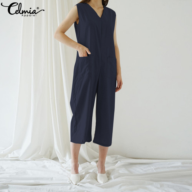 Celmia Plus Sise Overalls 2019 Casual Women Summer Linen Jumpsuits Sleeveless Wide Leg Rompers Loose Solid Office Playsuits 5XL