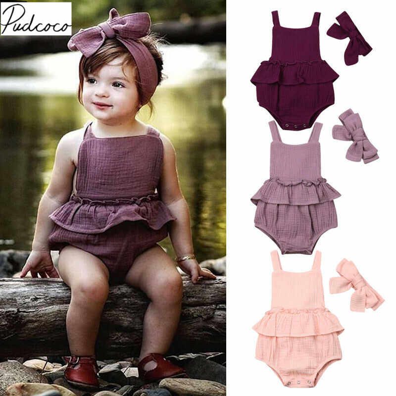 2019 Baby Summer Clothing Newborn Baby Girls Boys Cotton Linen Jumpsuits Headband 2pcs Outfit Ruffles Sleeveless Solid Sunsuit