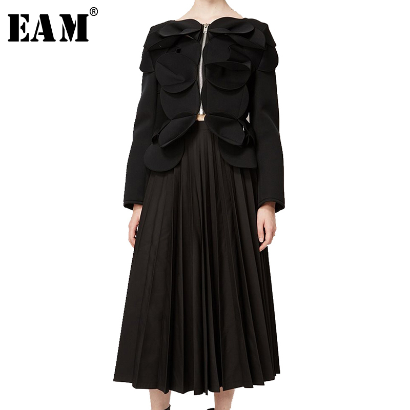 EAM 2019 Spring Woman New Stylish Personality Black Color Long Sleeve Zipper Spliced Pleated Patch