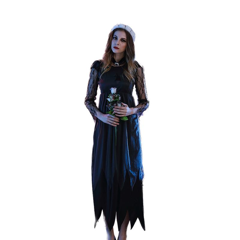2019 Hot Sale Women Halloween Witch Dress Costume Cosplay Clothing Elegant Evening Dress For Ball And Party