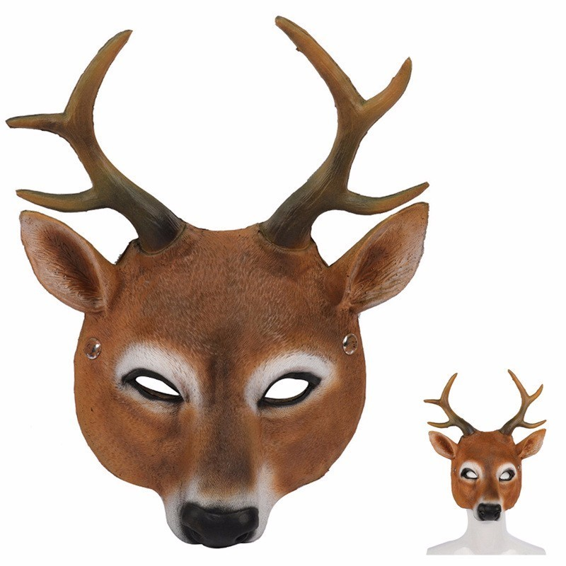 Halloween Pu Foam Animal Mask Adult Kids Panda Deer Dog Monkey Cospaly Mask Christmas Masquerade Mardi Gras Funny Costume Props