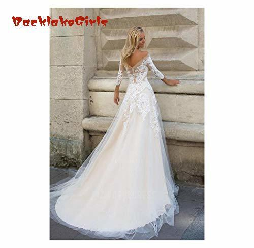 BacklakeGirls Wedding Dress A Line Appliques Tulle Bridal Gown