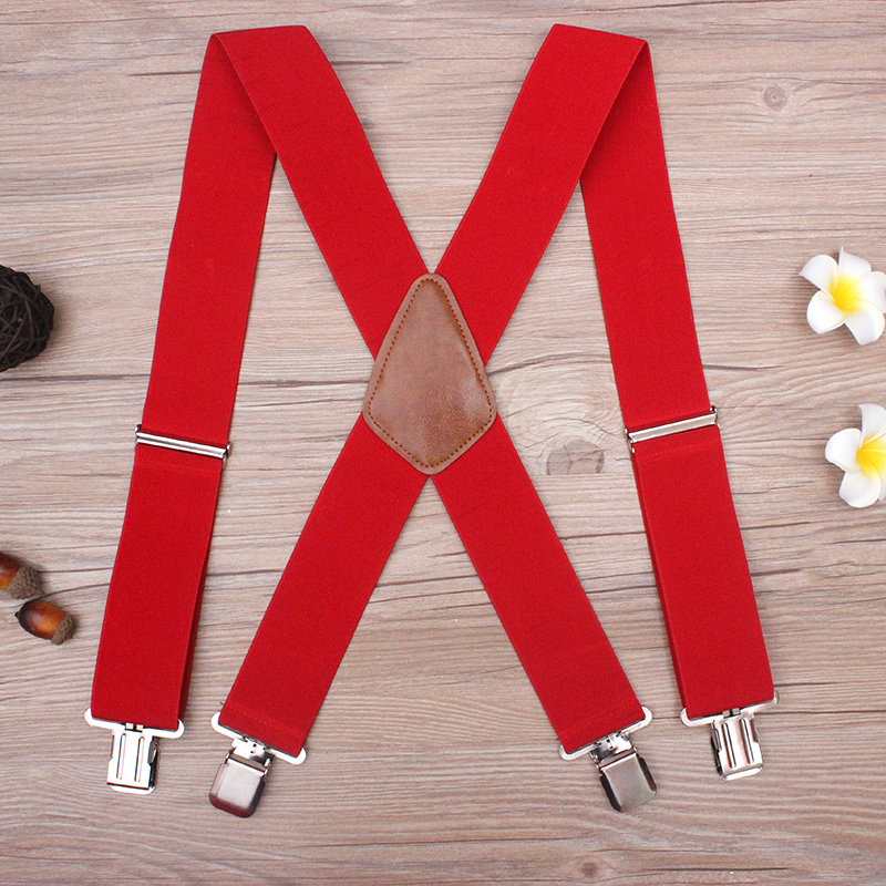 Suspenders Pants Braces-Strap X-Back-Trousers Heavy-Duty Plus-Size for Men with 4-Strong-Clips