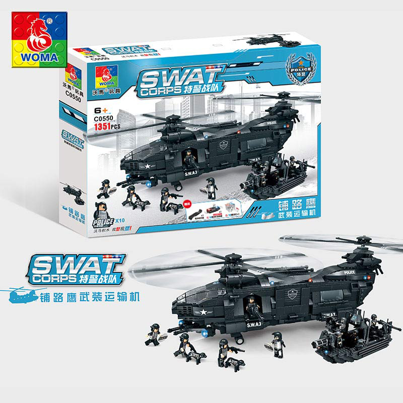 1351pcs City Police Series SWAT Speedboat Armed Helicopter Building Blocks Small Bricks Toy For Children Boy