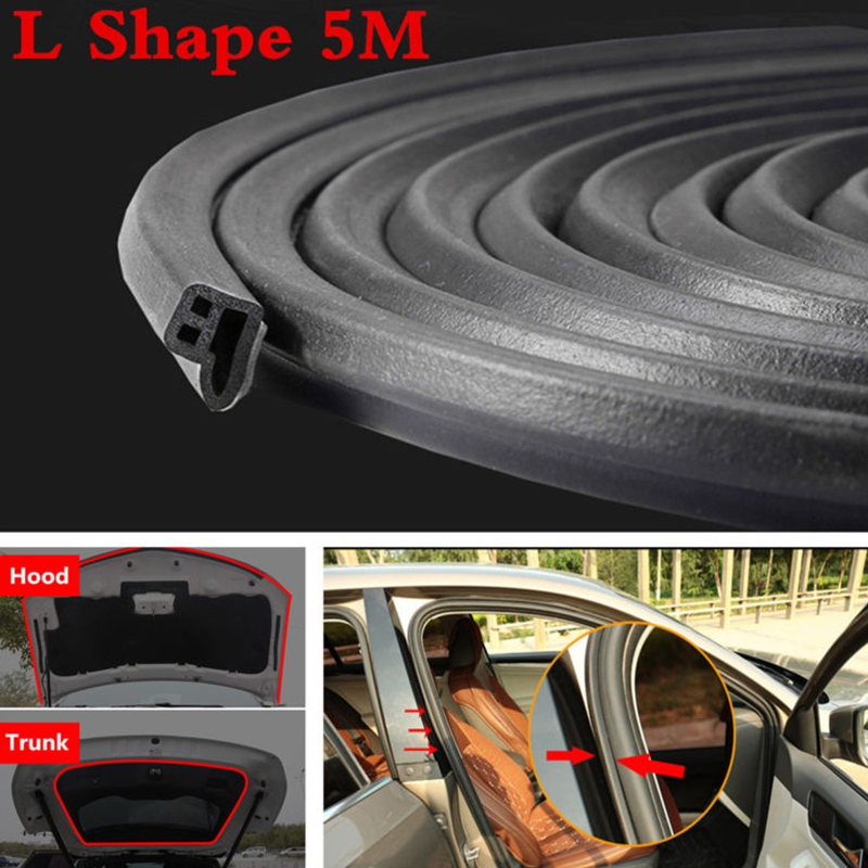 5M Big L Shape Car Door Window Trim Edge Moulding Rubber Weatherstrip Seal Strip