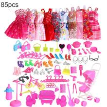 85PCS Outfits Clothes Set 10 Pack & 75Pcs Accessories for Barbie Dolls Fashion Party Gown Girls Christmas Gifts