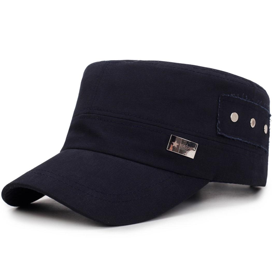 Kopfbedeckungen Für Herren Neue Männer Military Caps Einfarbig Mode Unisex Outdoor Sonnenschirm Hüte Taste Design Einstellbar Herbst Und Winter M43 Frauen